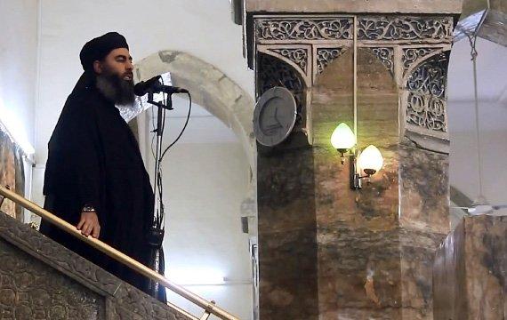 Abu Bakr al-Baghdadi preaching at a mosque in Mosul, Iraq