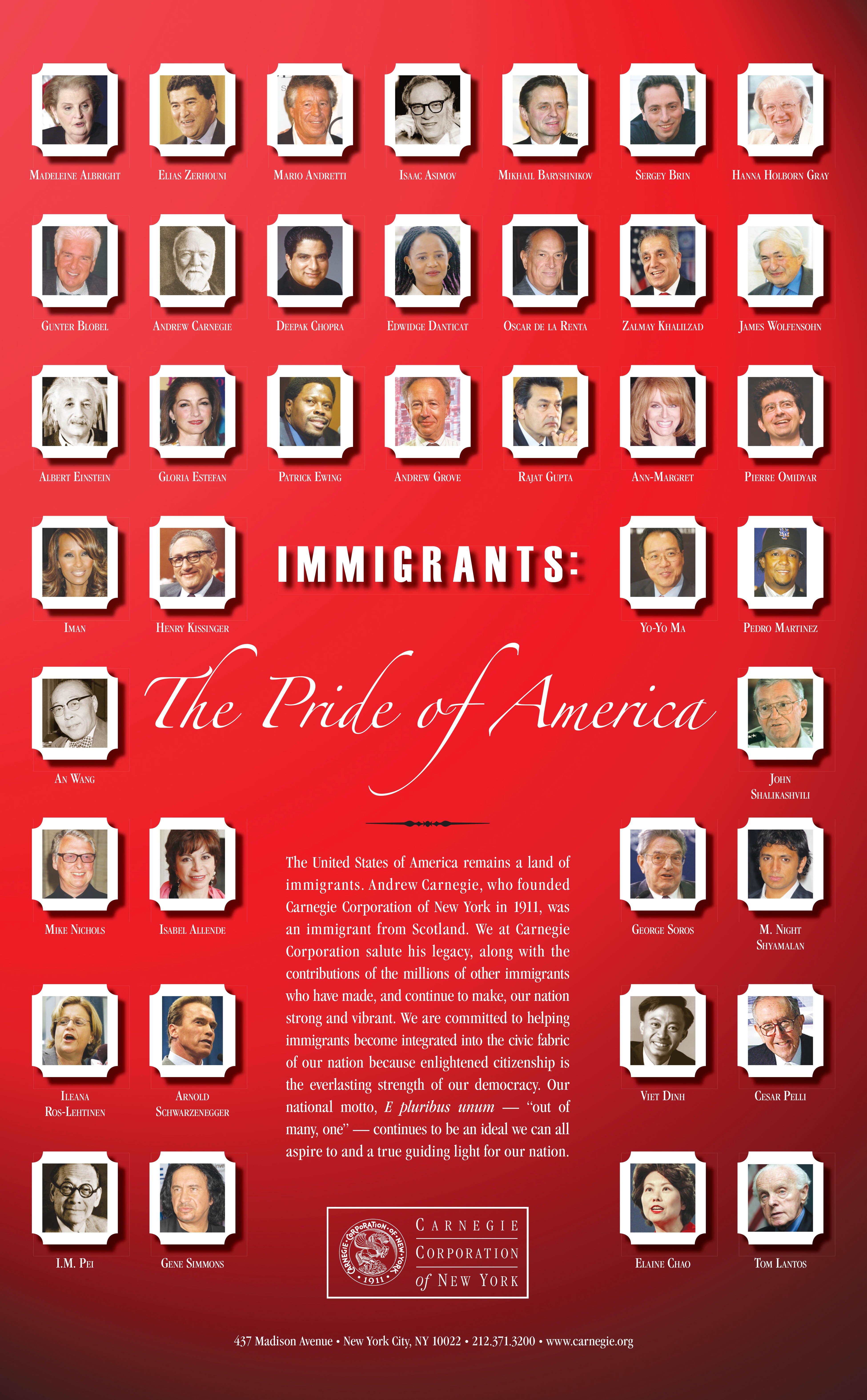Immigrants, The Pride of America