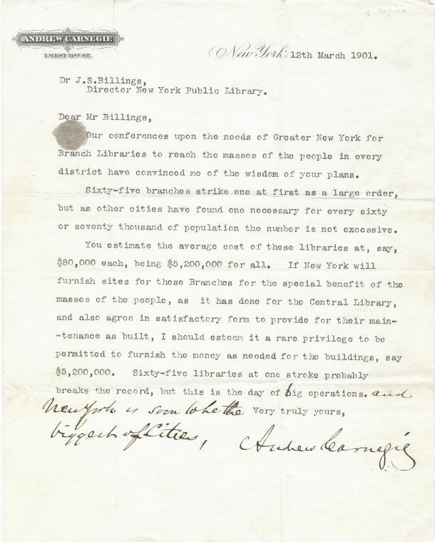Letter from A. Carnegie to Dr. J.S. Billings, 12th March 1901