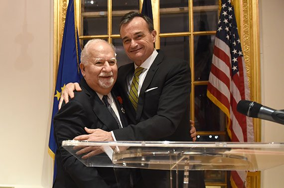 Gérard Araud, French ambassador to the United States, embraces Vartan Gregorian, president of Carnegie Corporation of New York City. On February 9, Gregorian was honored at the Cultural Services of the French Embassy in New York. (Photo: Jennifer Altman)