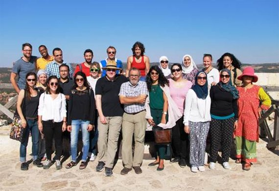 MENA Workshop participants and leaders pose during an excursion to Ajloun Castle in Jordan, September 2016.
