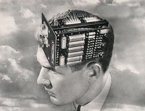 Vintage illustration of a man with an electronic circuit board brain, 1949. (Photo: GraphicaArtis/Getty Images)