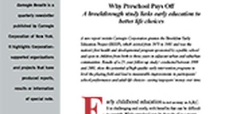 Why Preschool Pays Off: A Breakthrough Study Links Early Education to Better Life Choices