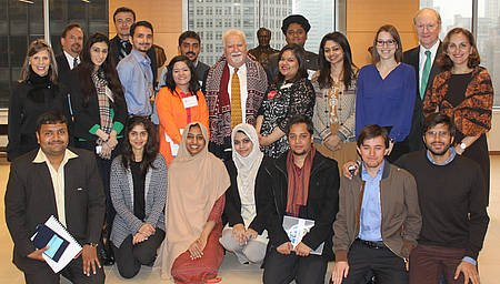 Vartan Gregorian (wearing his new gift shawl) with the Pakistani visitors and a few Corporation folks.