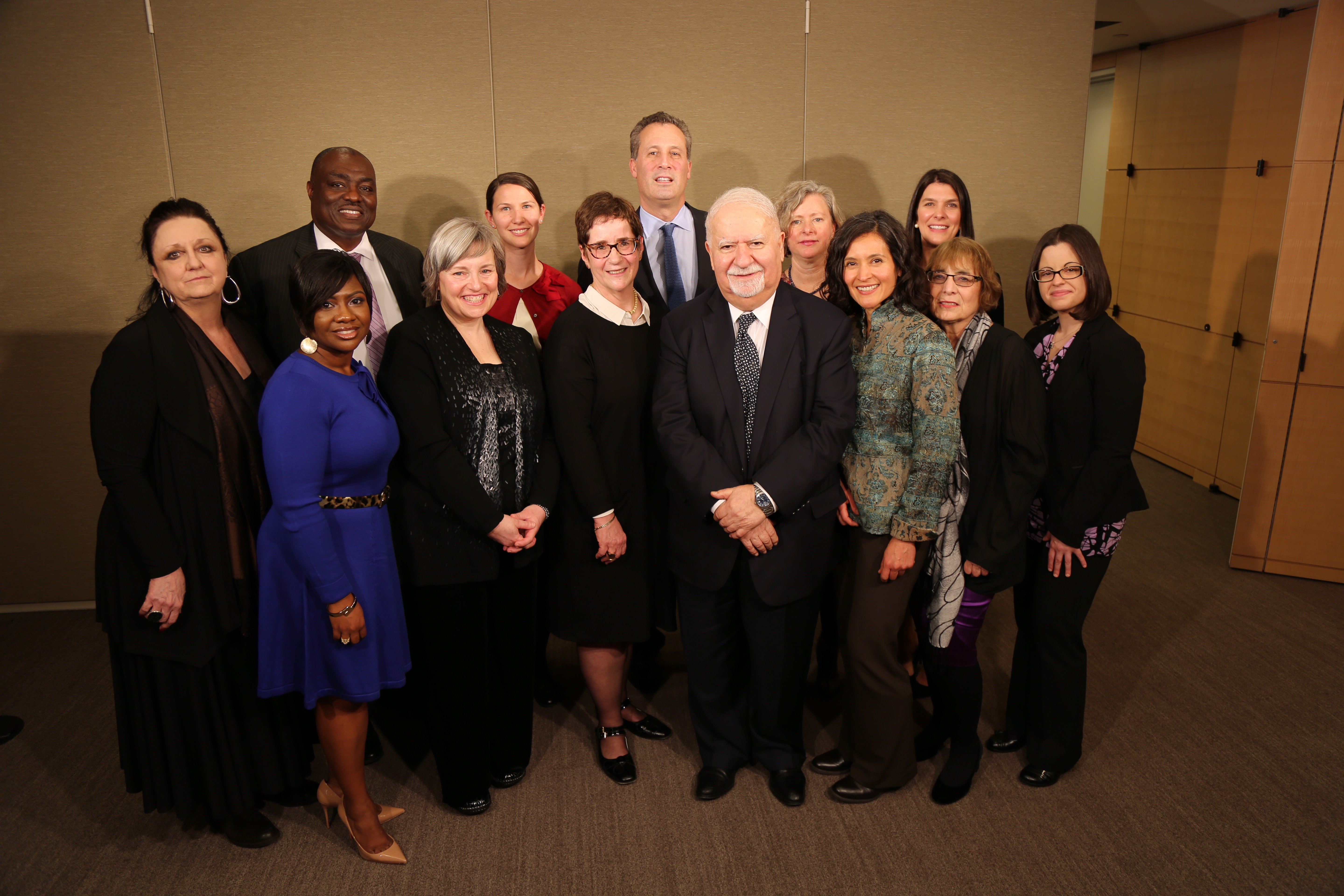 Winners of the 2016 I Love My Librarian award pose with Carnegie Corporation president Vartan Gregorian (front row, fifth from left) and New York Public Library president Anthony W. Marx (back row, third from left). (Photo: Celeste Ford)
