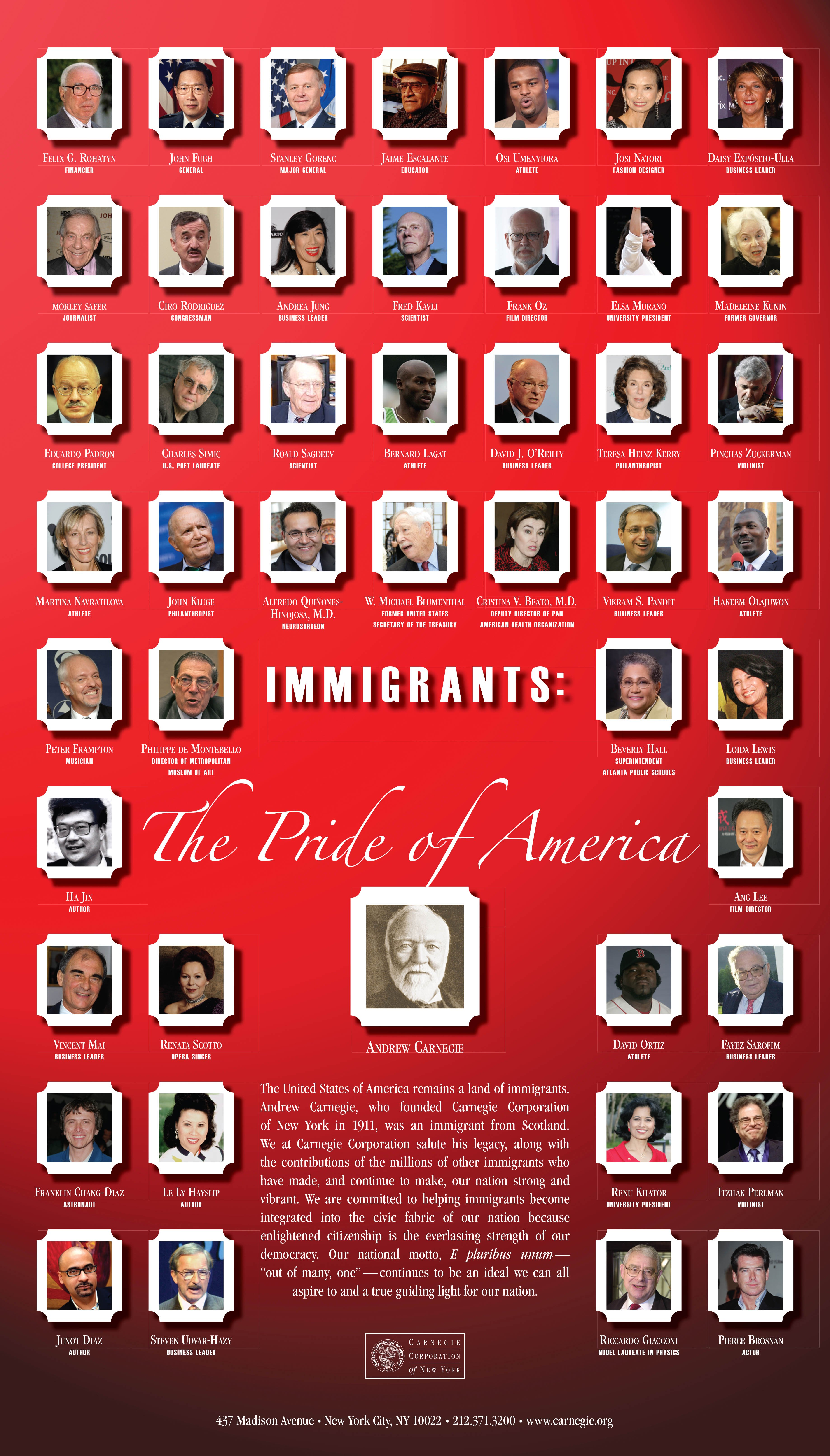 Immigrants, The Pride of America