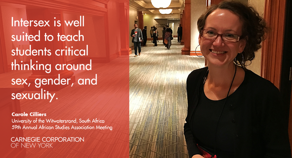 "Carole Cilliers (University of Witwatersrand) presented a paper entitled ""Intersex and Understandings of Sex, Gender and Sexuality in South African Public Health Higher Education."""
