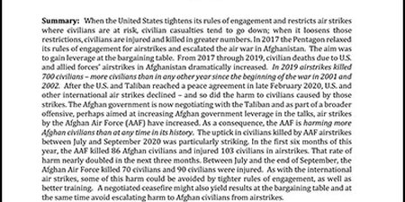 Afghanistan's Rising Civilian Death Toll Due to Airstrikes, 2017-2020