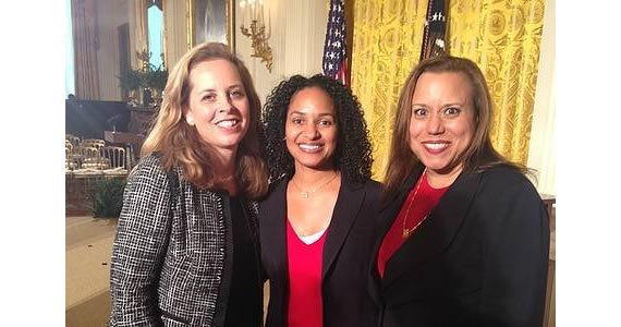 At the White House ceremony focusing on STEM studies, the Corporation's LaVerne Srinivasan with Nicole Anderson, AT&T, Executive Director of Philanthropy, AT&T Foundation and Ayeola Kinlaw, Director of Funding Collaborative, 100Kin10.